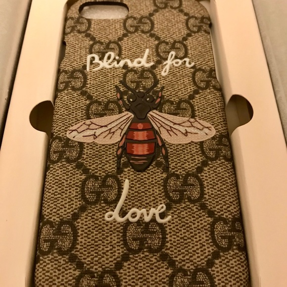 quality design 764a2 38ada Gucci iPhone 7 Blind for Love Phone Case NWT